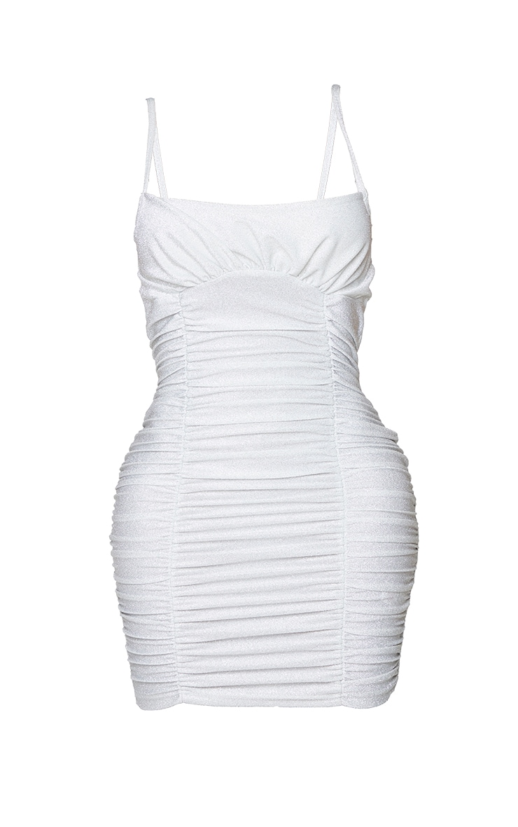 Shape Silver Glitter Extreme Ruched Bodycon Dress 5