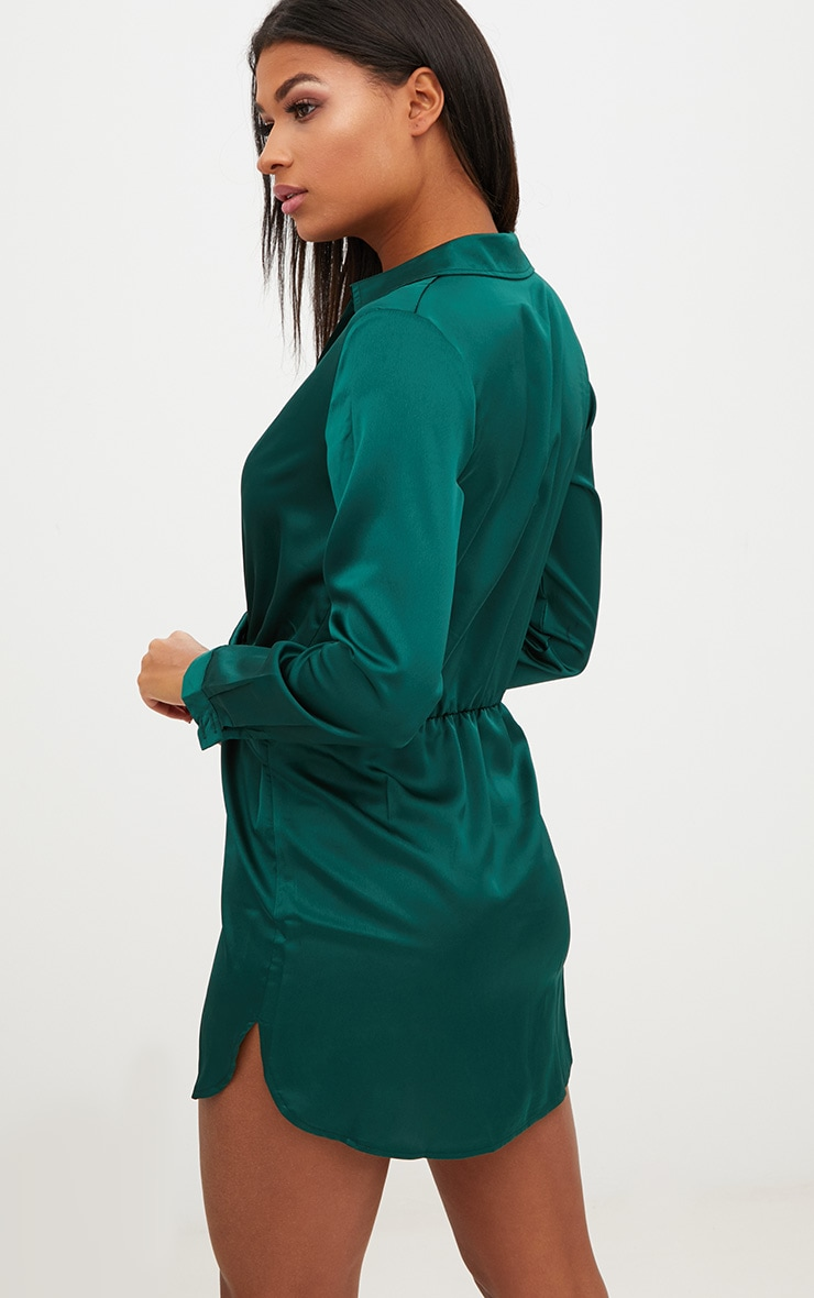 Katalea Emerald Green Twist Front Silky Shirt Dress 2