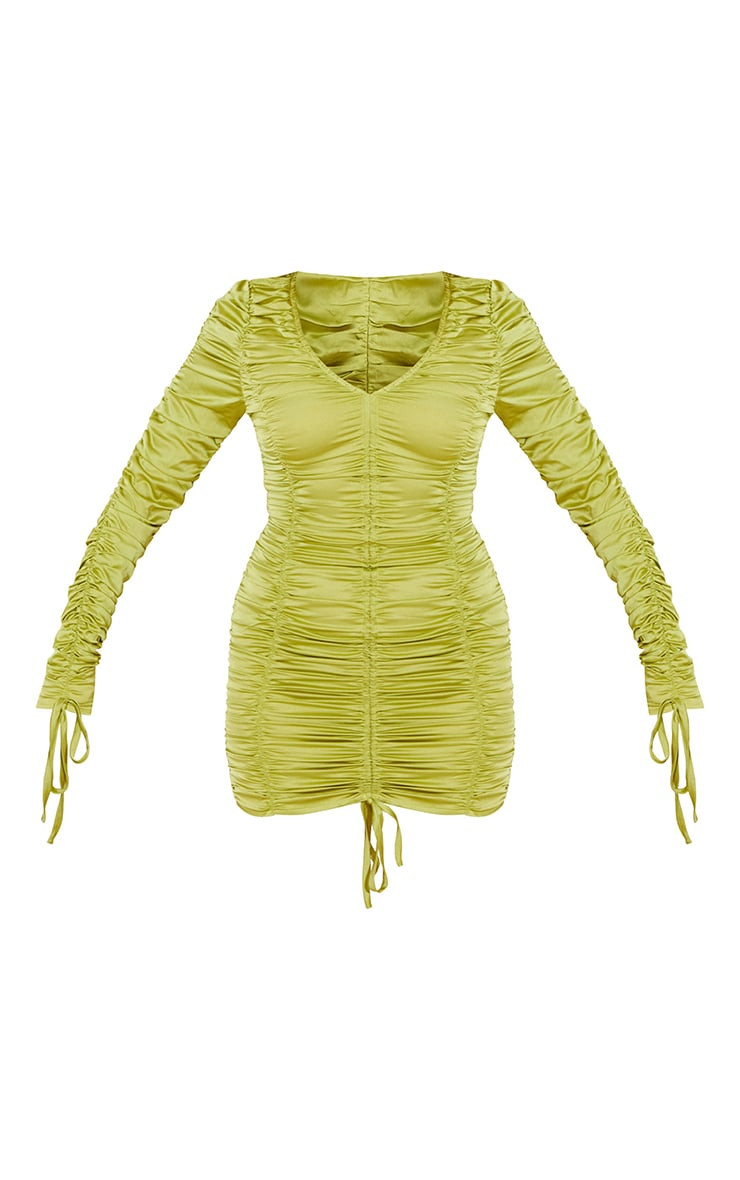 Olive Satin Long Sleeve Extreme Ruched Bodycon Dress 5