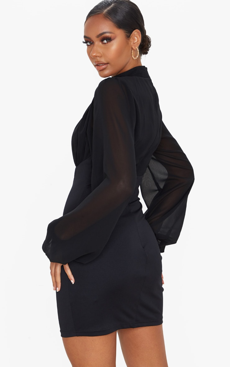 Black Chiffon High Neck Balloon Sleeve Bodycon Dress 2