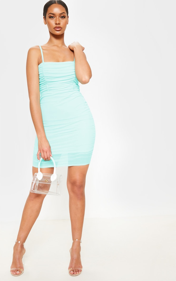 Mint Ruched Bodycon Dress 1