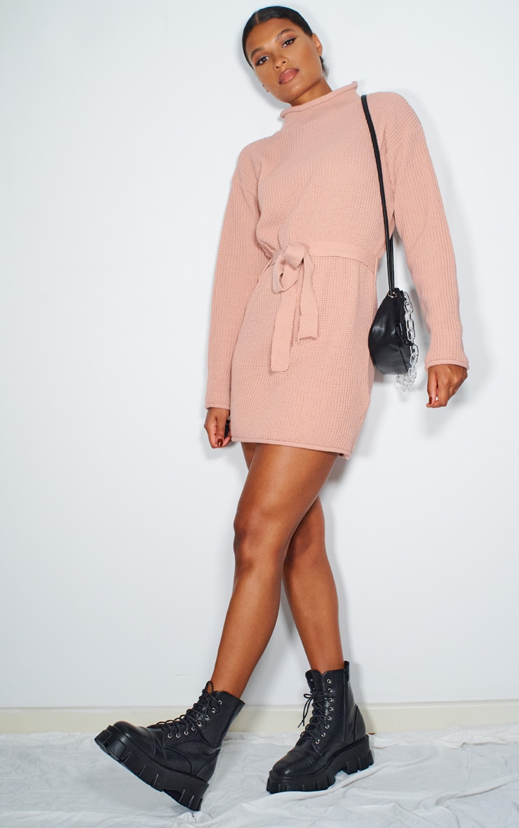 Blush Belted Turtle Neck Jumper Dress 3