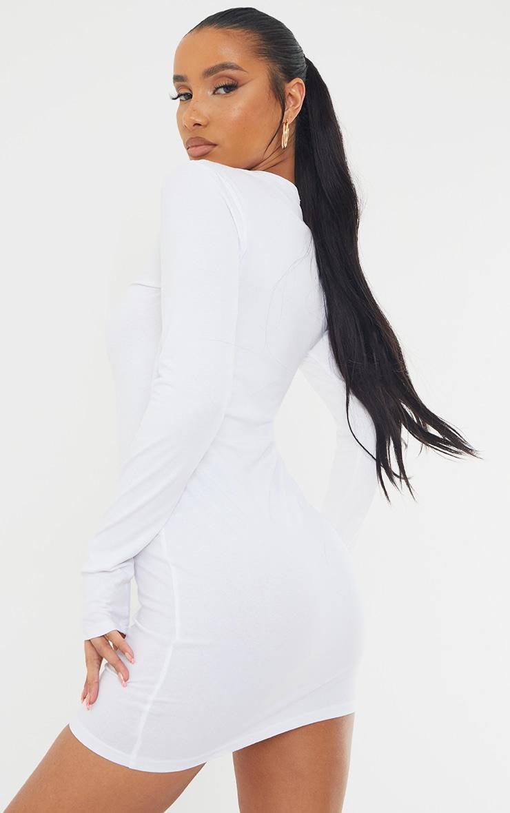 Basic White Cotton Blend Long Sleeve Thumb Hole Bodycon Dress 2