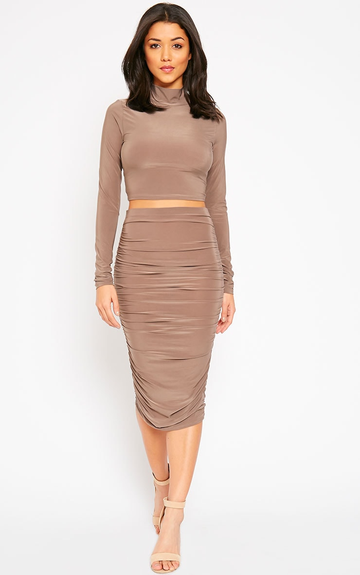 Saylor Mocha Slinky Gathered Midi Skirt 1