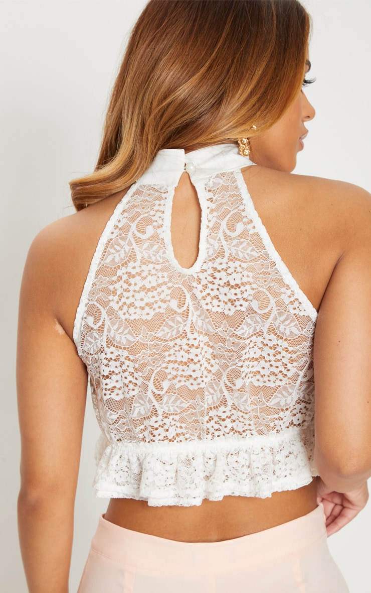 Petite White High Neck Lace Crop Top 5