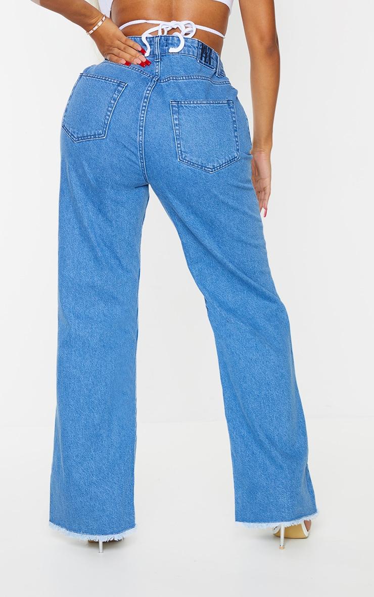 PRETTYLITTLETHING Shape Mid Blue Wash Asymmetric Waist Distressed Straight Leg Jeans 3