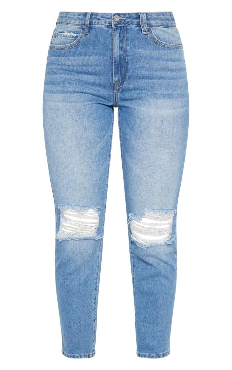 Mid Wash Knee Rip Mom Style Jean 3
