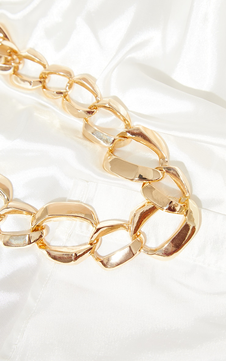 Gold Round Assorted Circle Chain Necklace 4