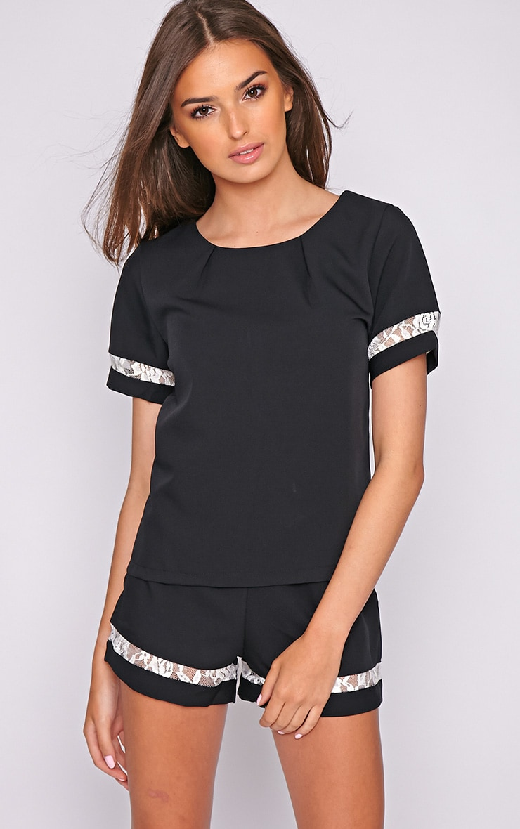 Angelina Black Boxy Top with Lace Detail 4