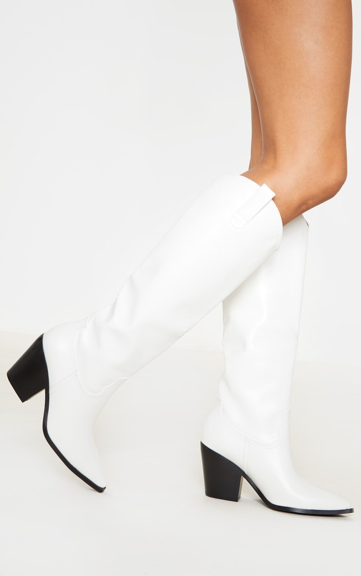 White Mid Calf Western Boot 2