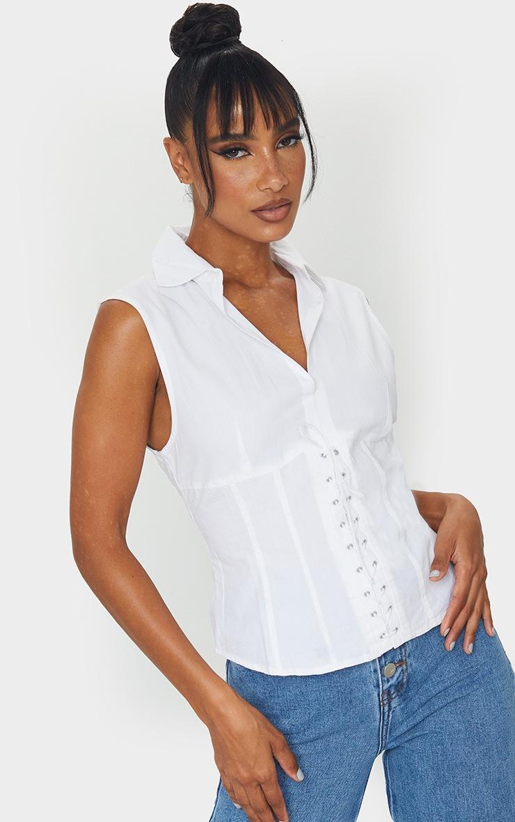 White Woven Binding Detail Front Sleeveless Shirt 3