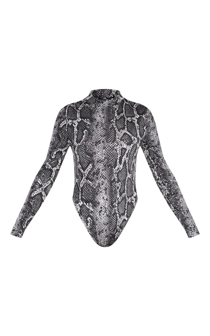 Grey Snake Sequin High Neck Bodysuit 3