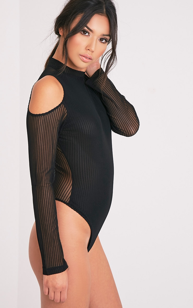 Jessamyn Black High Neck Sheer Stripe Thong Bodysuit 3