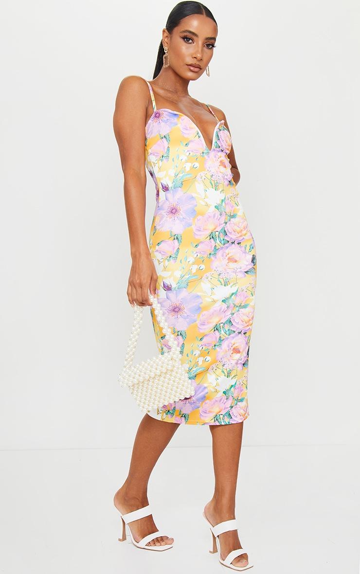 Yellow Floral Print V Bar Midi Dress 3