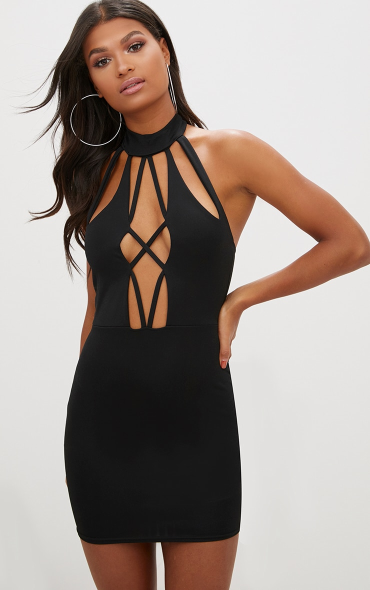 Black High Neck Strap Detail front Bodycon Dress 1