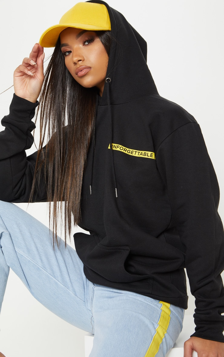 Black Unforgettable Slogan Print Hoodie
