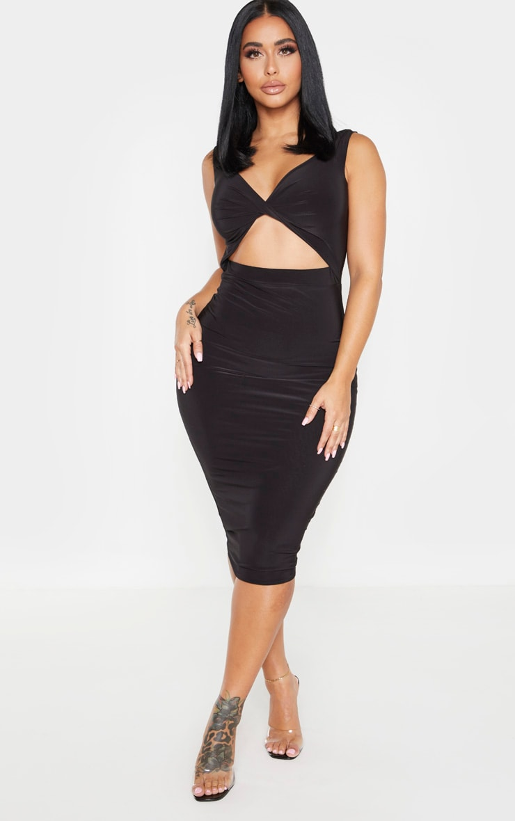 Shape Black Twist Front Cut Out Midi Dress 1