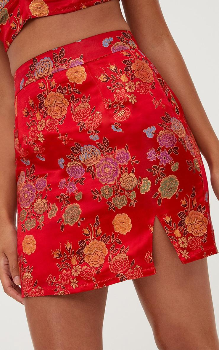Red Oriental Jacquard Split Mini Skirt 6