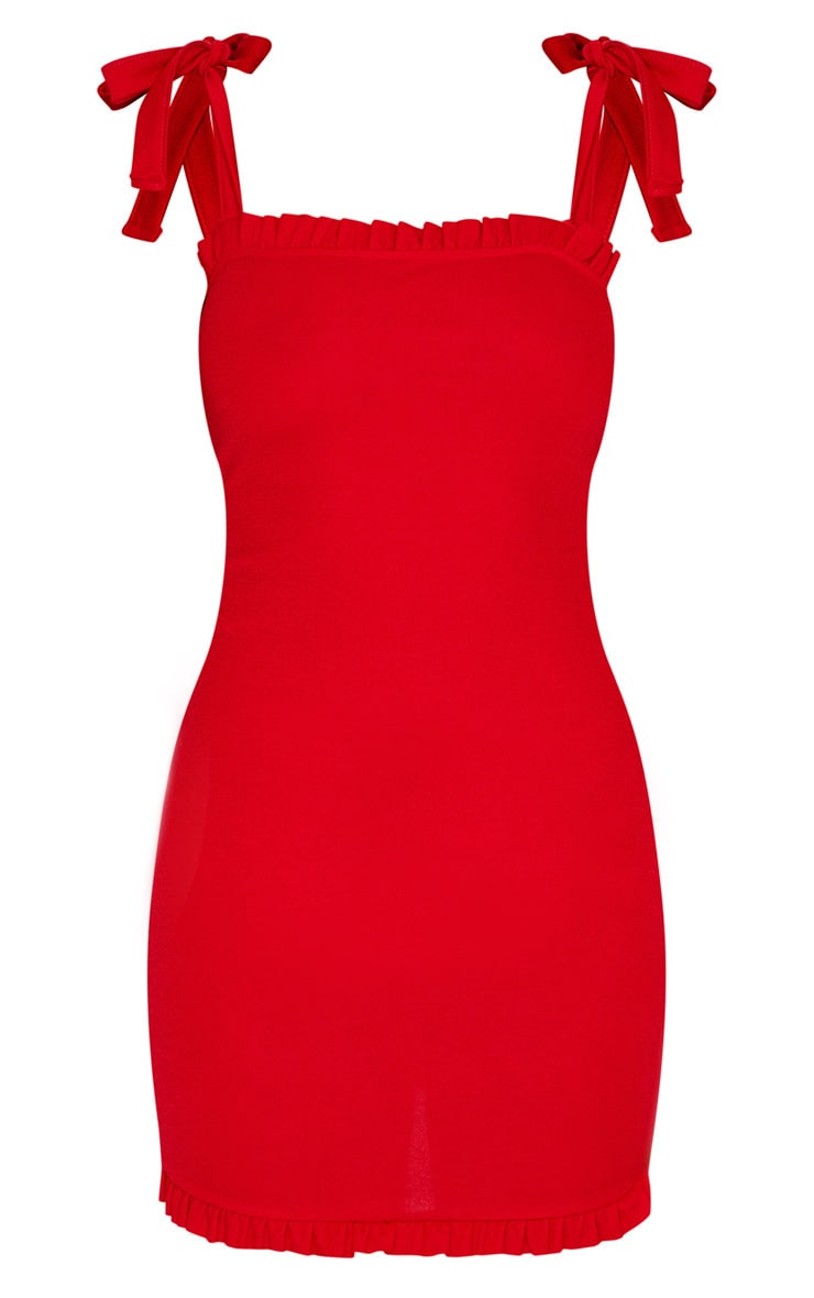 Red Tie Shoulder Frill Detail Bodycon Dress 3