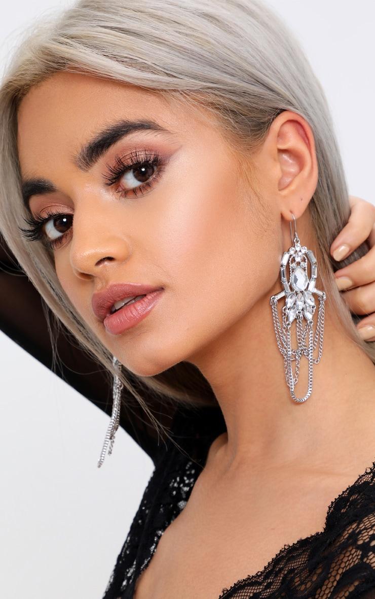 Silver Jewel Draped Chain Drop Earrings 2