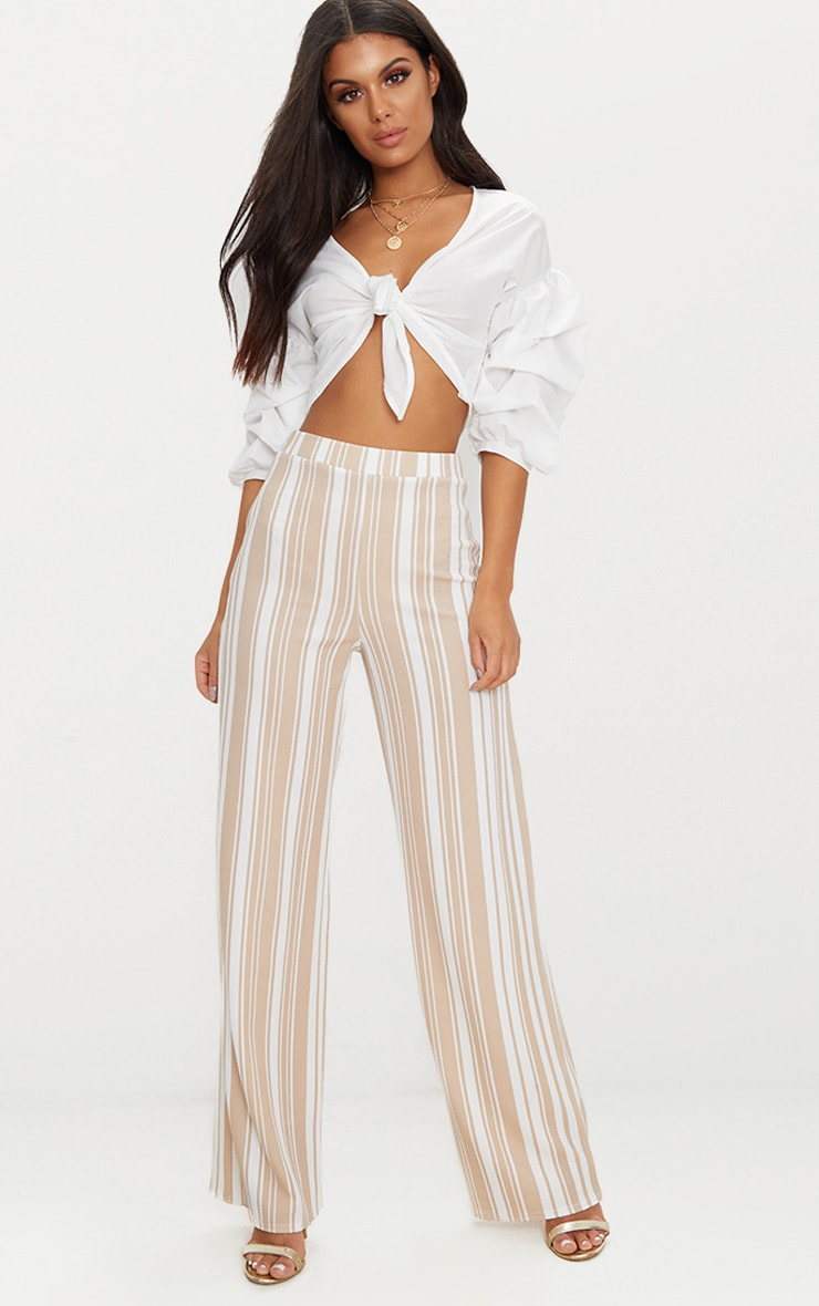 Stone Crepe Interest Stripe Wide Leg Trouser 1