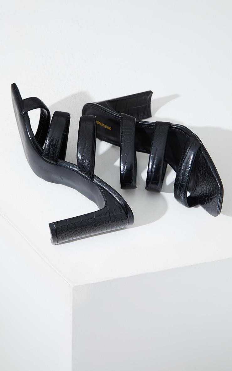 Black PU Croc Triple Strap Flat Heeled Mules 4