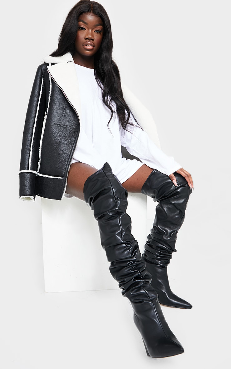 Black Western Slouch Over The Knee Boots 2