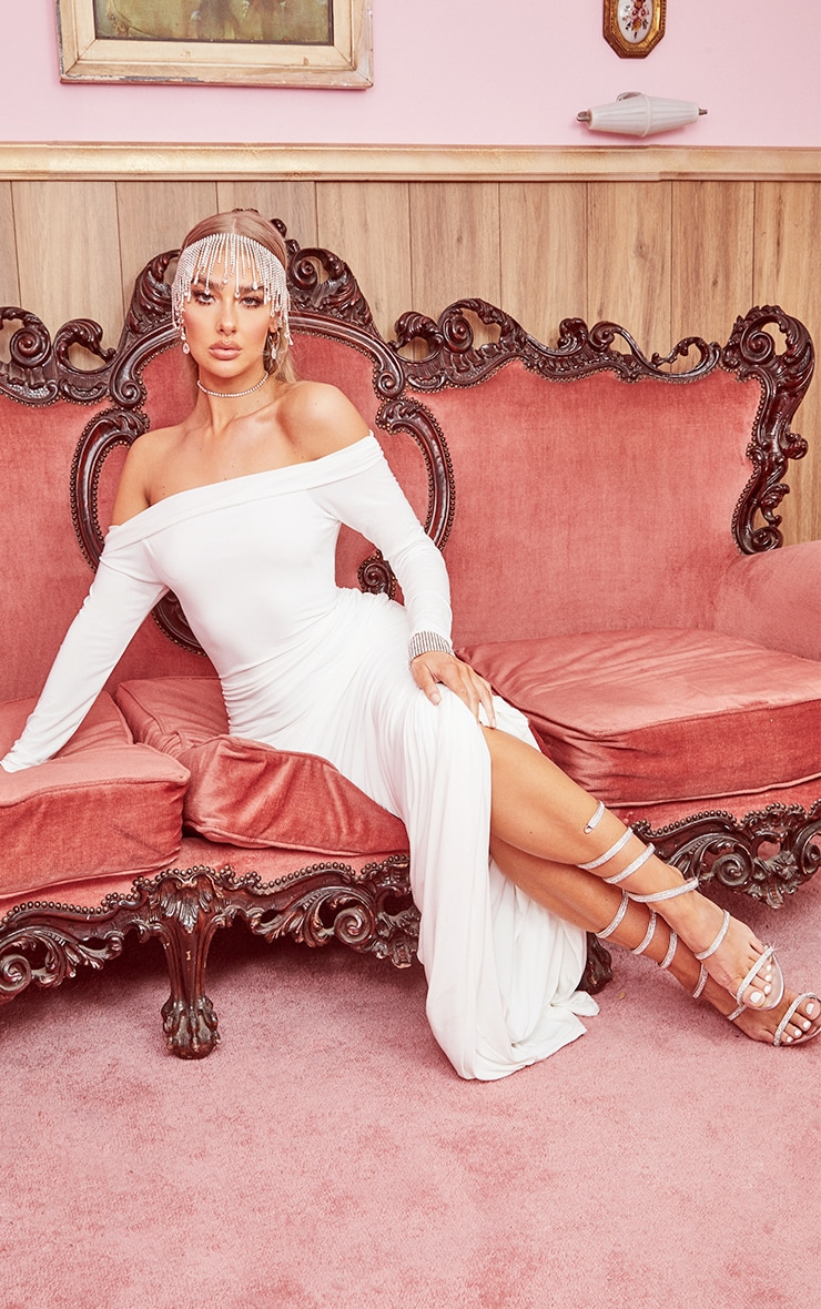 White Slinky Bardot Ruched Long Sleeve Maxi Dress