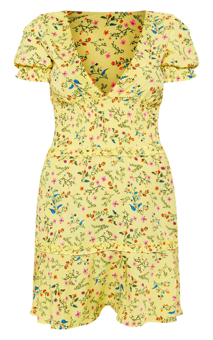 Yellow Floral Print Shirred Detail Ruffle Tea Dress 3