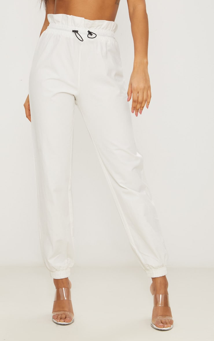 White Toggle Paperbag Waist Cargo Pants 2