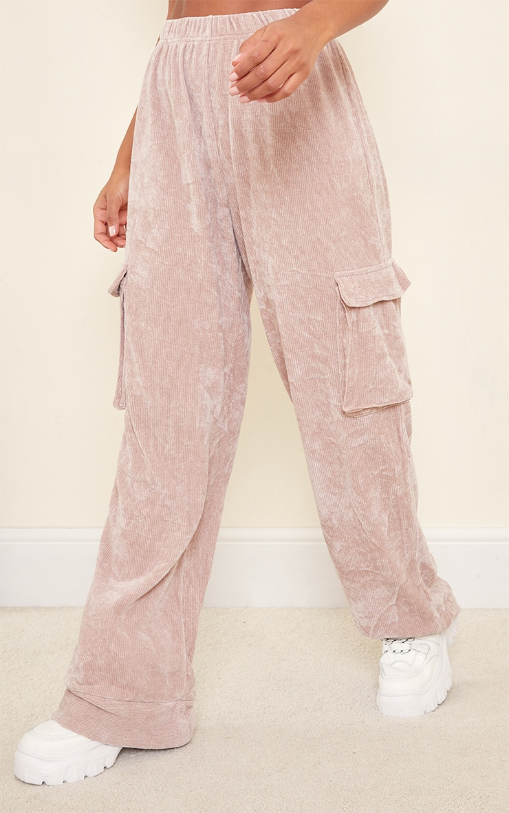 Taupe Rib Velour Pocket Detail Wide Leg Trousers 2