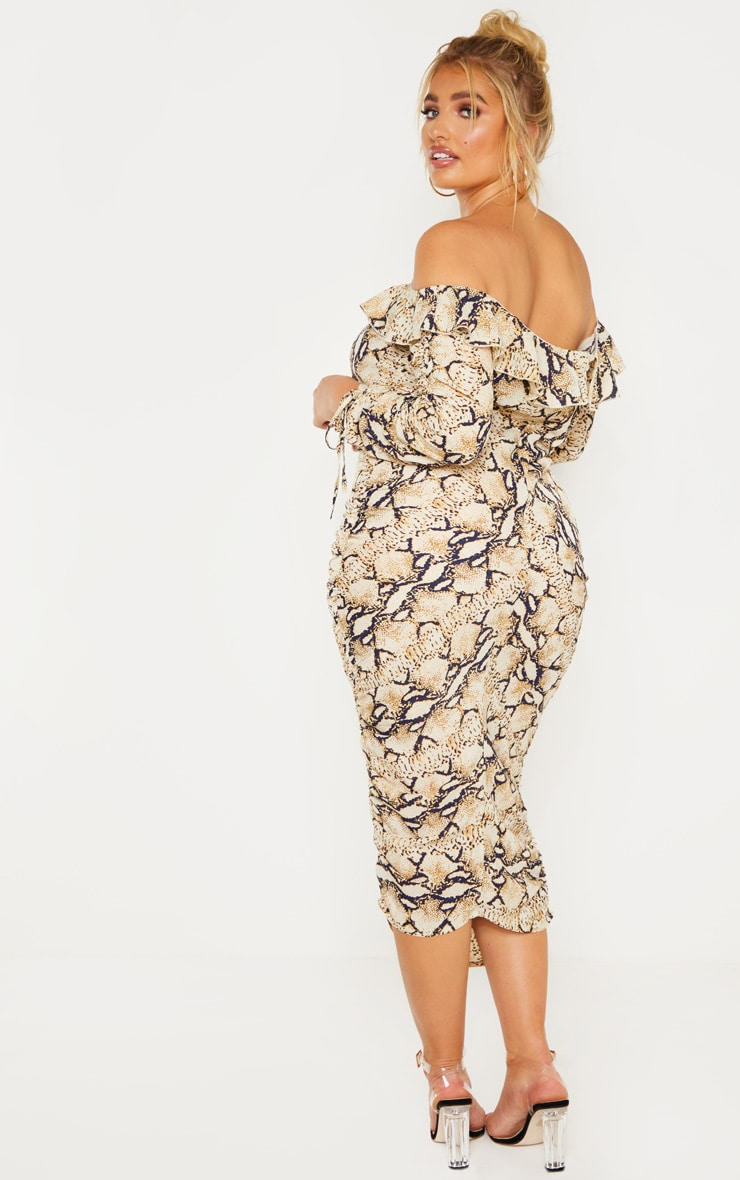 Plus Taupe Snake Print Ruched Side Bardot Dress 2