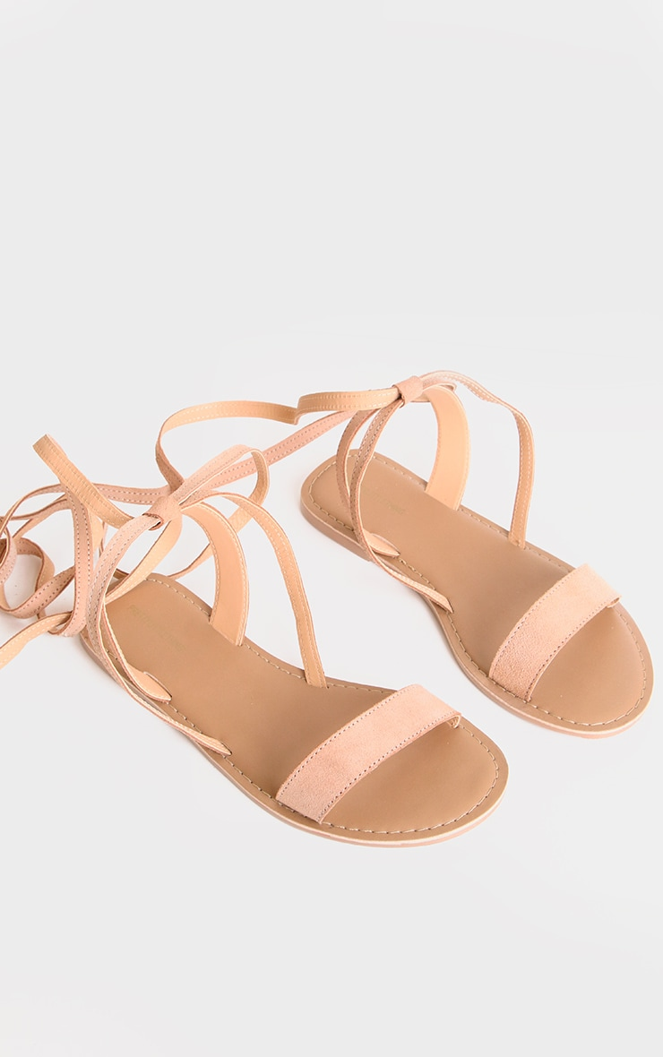 Nude Wide Fit Leather Strappy Basic Sandals 2