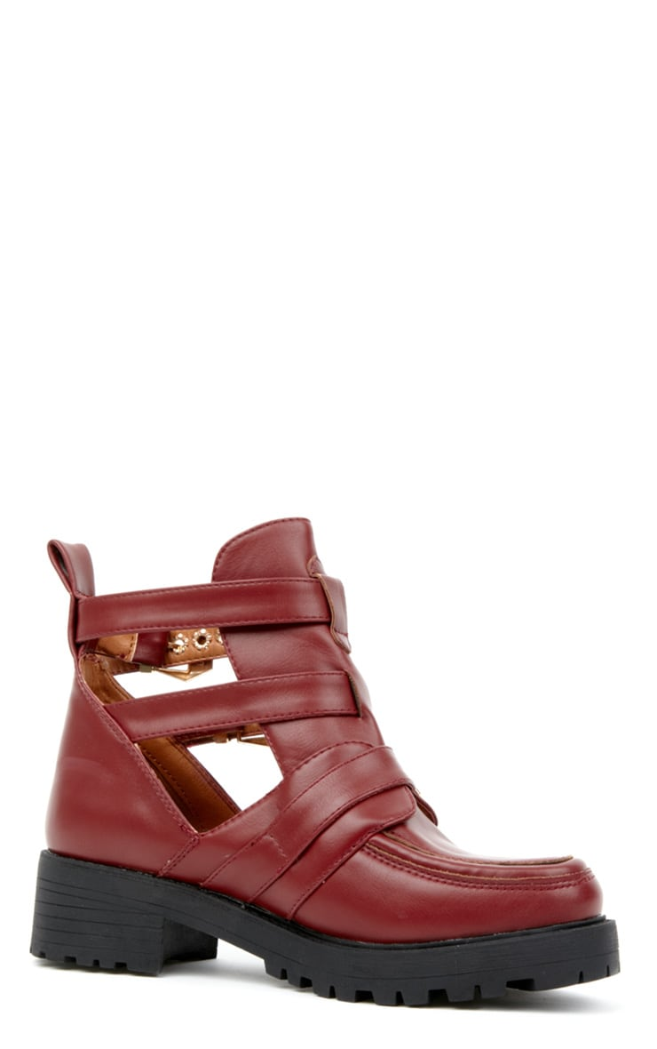 Jennifer Burgundy Cut Out Boots 3