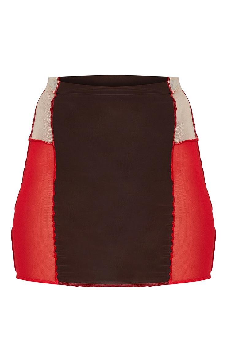 Chocolate Slinky Panelled Mini Skirt 6