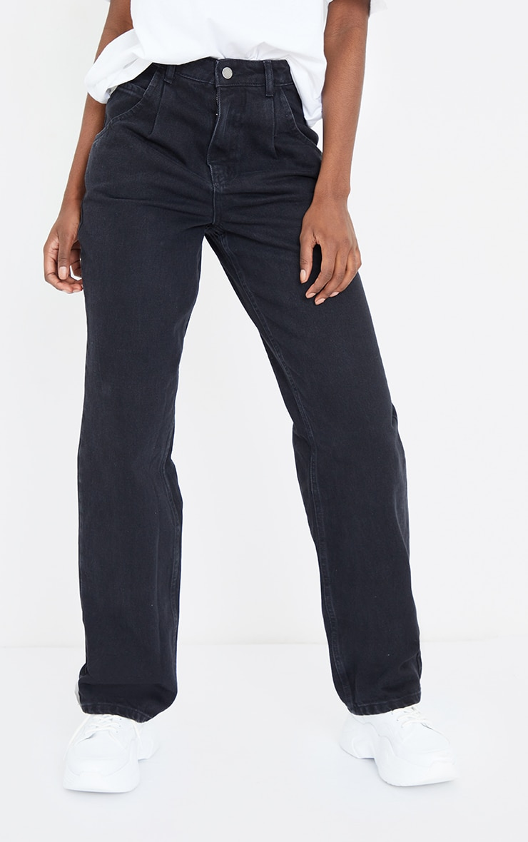 Tall Washed Black Seam Detail Wide Leg Jeans 2