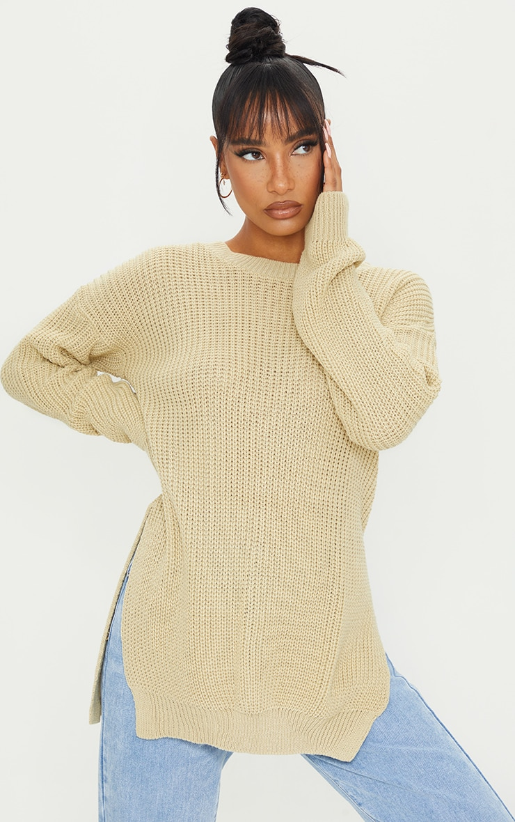 Stone Round Neck Side Split Sweater 1