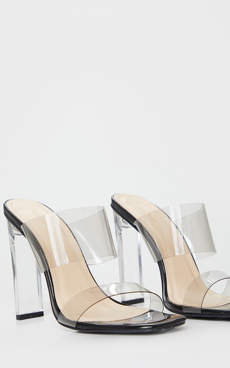 Black Tinted Clear Twin Strap Mule Heels 4