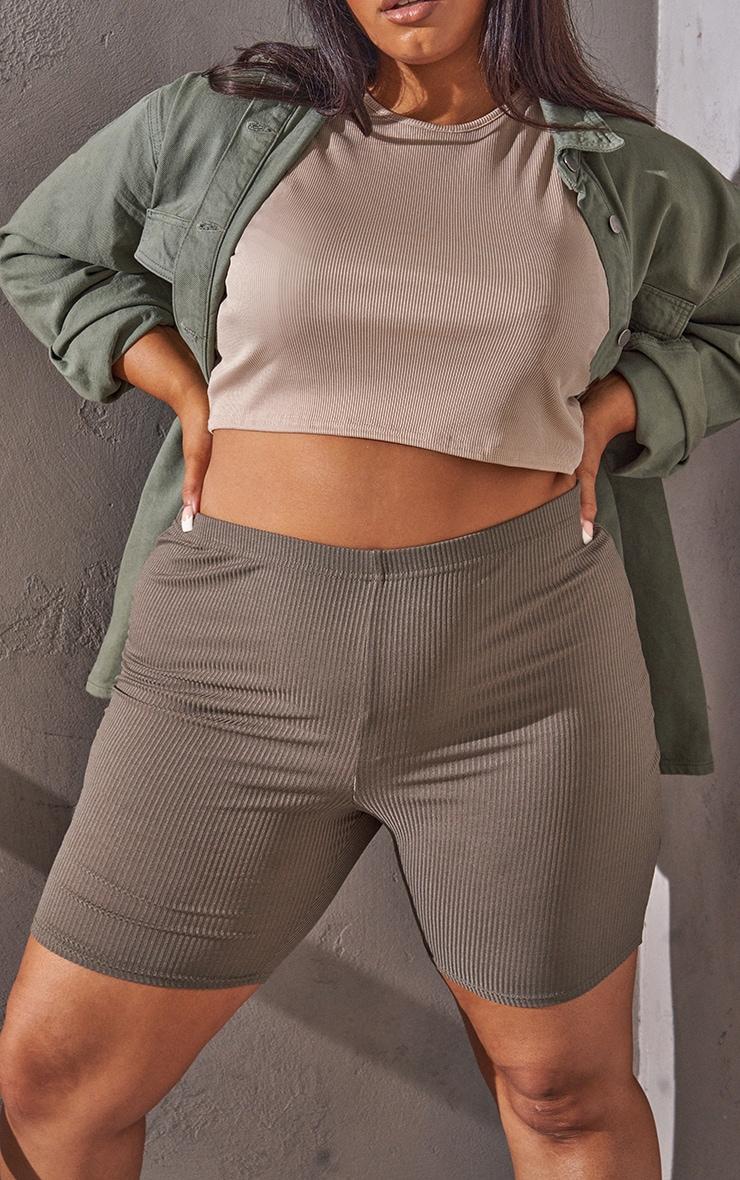 RENEW Plus Khaki Rib Cycle Shorts 5