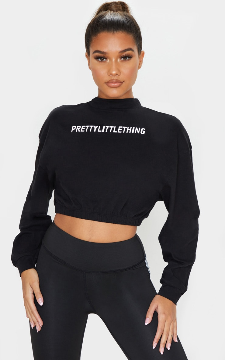 PRETTYLITTLETHING Black Sport Reflective Sweater 1