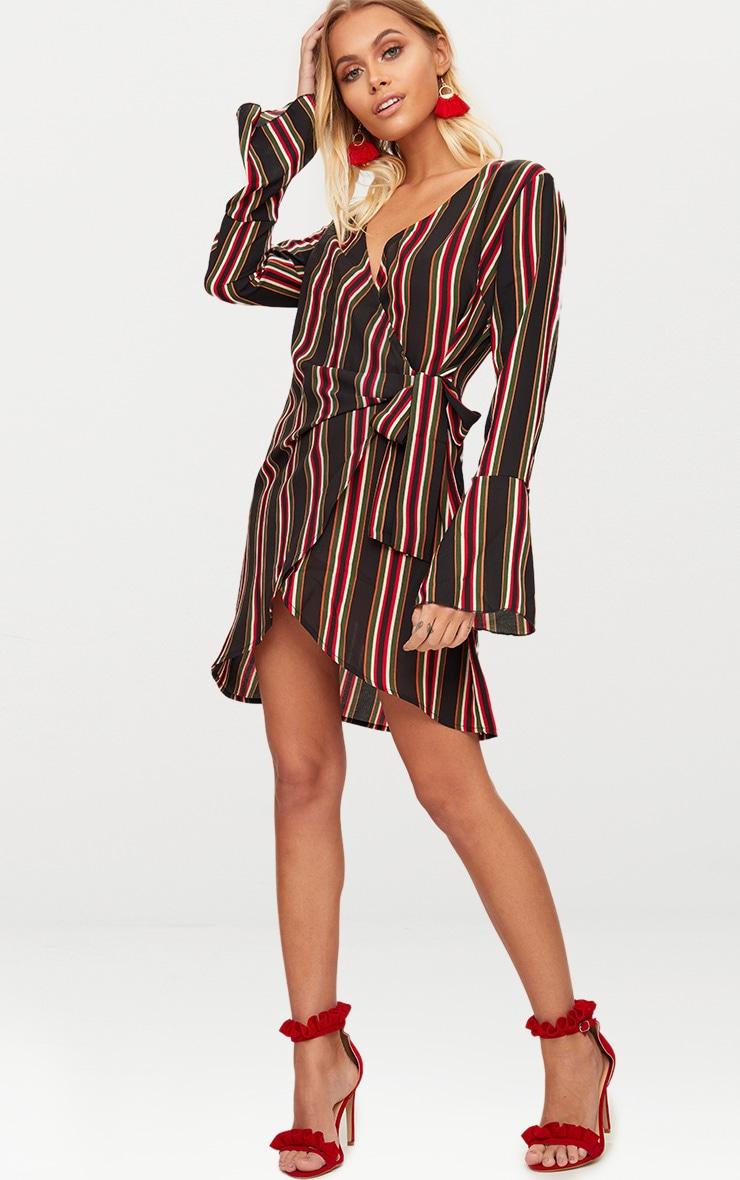 Khaki Striped Wrap Detail Long Fluted Sleeve Bodycon Dress 4