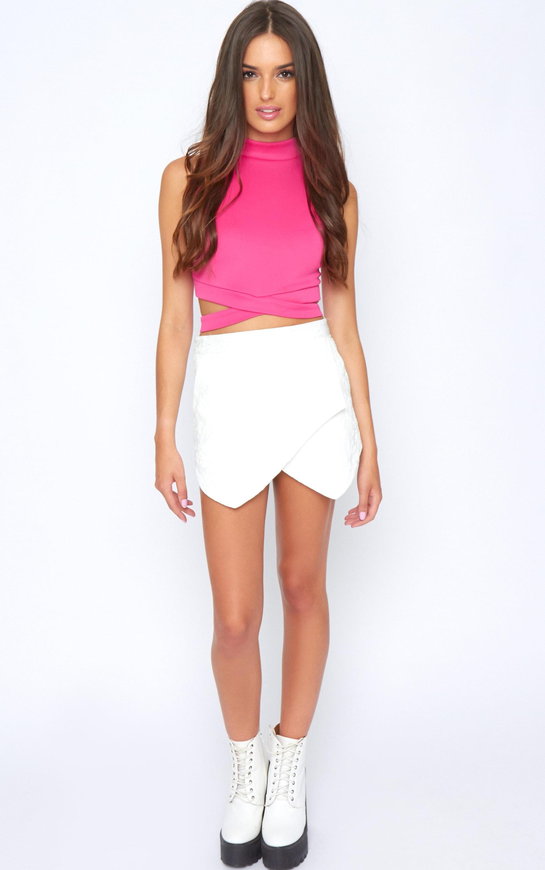 Selina Pink Tie Front Crop Top -S/M 4