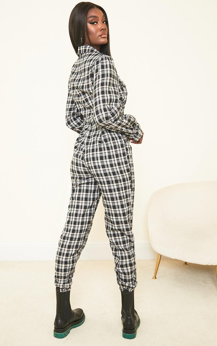 Tall Black Check Pocket Detail Shirt Jumpsuit 2