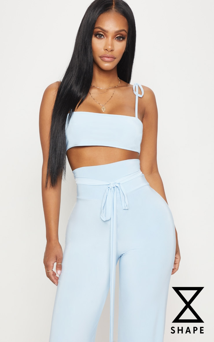 Shape Light Blue Slinky Straight Neck Crop Top