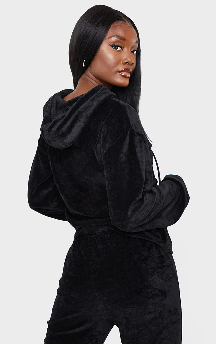 Tall Black Velour Cropped Hoodie 2
