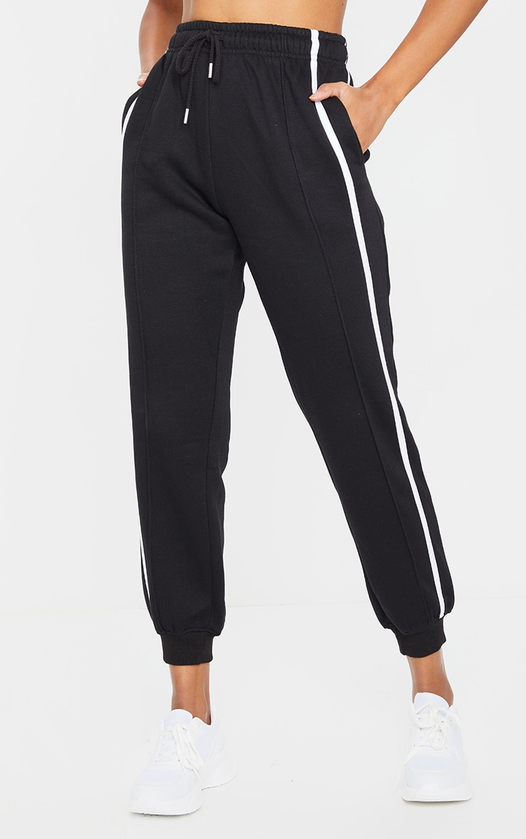 Black Double Side Stripe Joggers 2