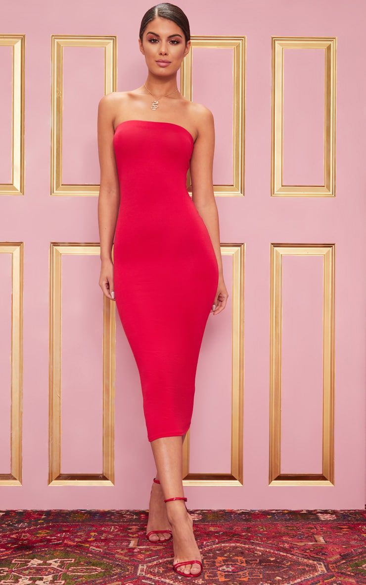 Basic Red Bandeau Midaxi Dress 1