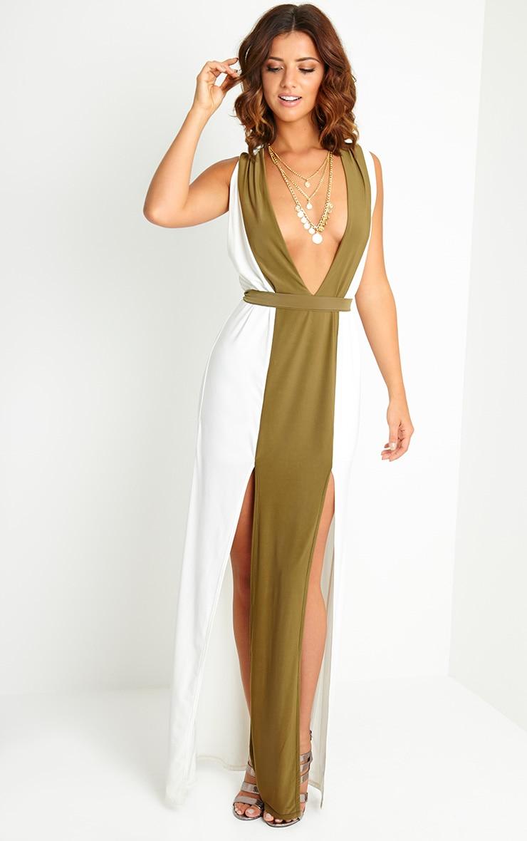 Maya Cream Belted Maxi Dress 3