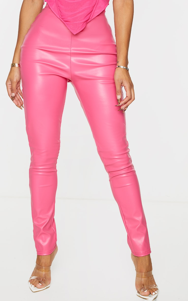 Shape Hot Pink Matte PU Leggings 2