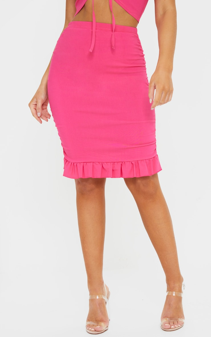 Hot Pink Woven Stretch Ruched Side Frill Hem Bodycon Skirt 2